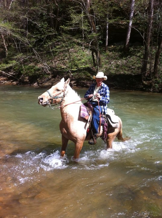 Riding horse through river in the Big South Fork