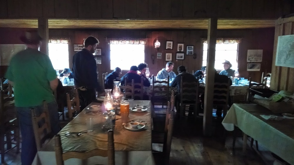 Group dining inside of Charit Creek Lodge