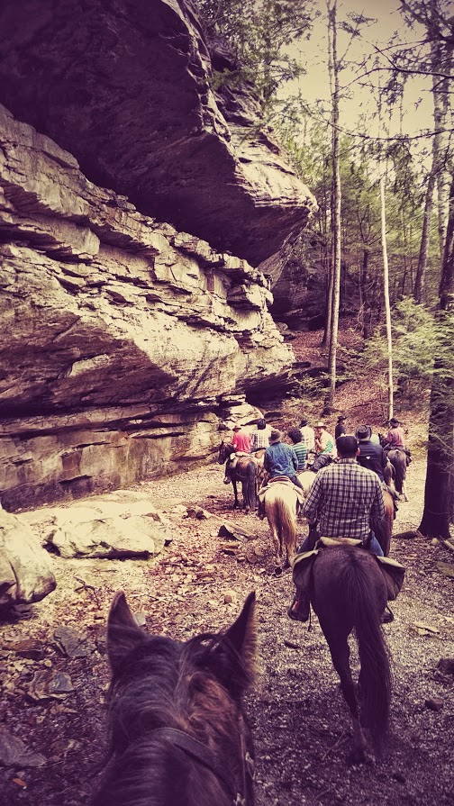 Group riding horses next to sandstone bluff in the Big South Fork