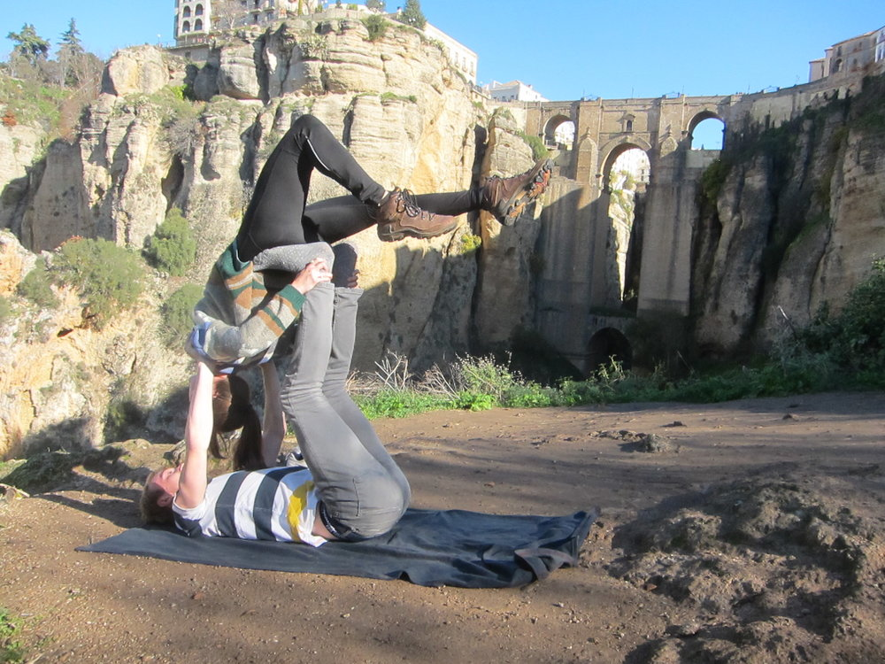 We got to test out the acroyoga we've been practicing in front of the Ronda bridge!