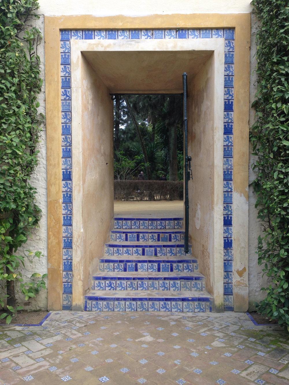 Beautiful doorway in Sevilla's famous Alcazar gardens.