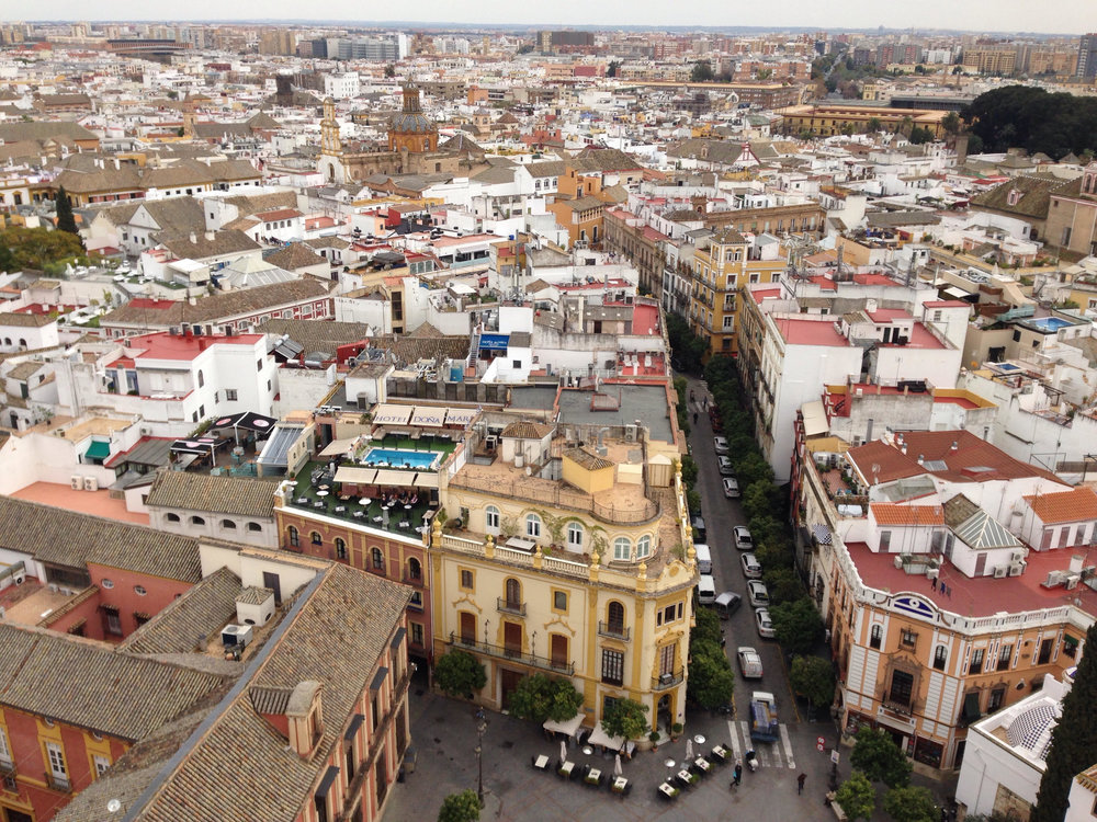 The view from the top of La Giralda bell tower of the Cathedral of Seville
