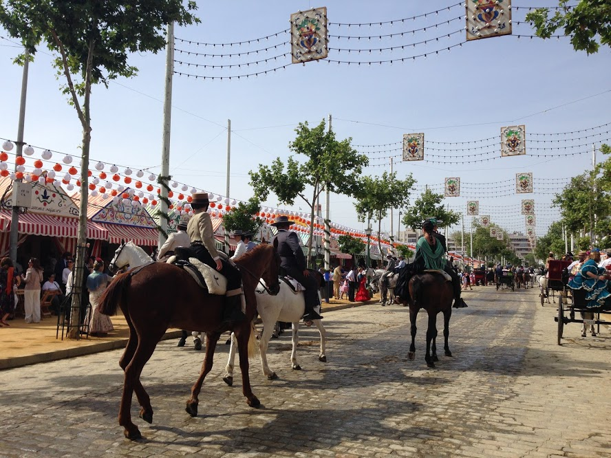 Horses in the street at Feria de Abril in Sevilla