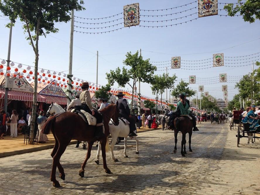 Horses in the street at Feria de Abril in Sevilla