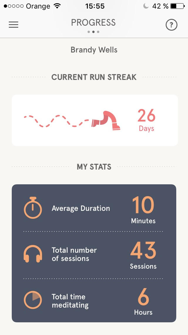 The app is worth it just for the accountability. I don't know if I would have meditated so many days in a row without these stats encouraging me!