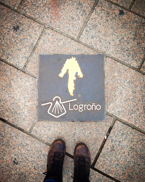 The streets in Logroño are dotted with tiles pointing out the path of El Camino de Santiago, a famous pilgrimage starting in France and ending at the western tip of northern Spain in Santiago de Compostela, Galicia.