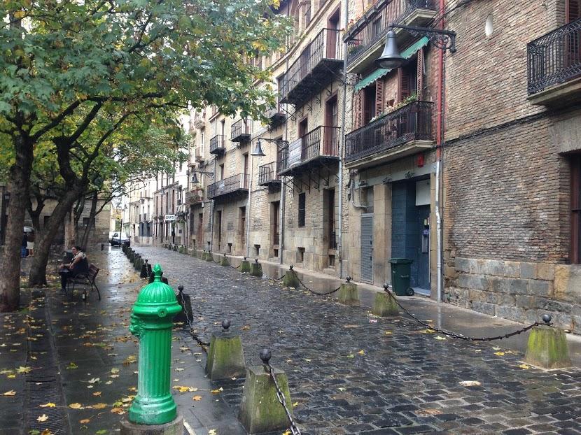 Moody autumn streets on a rainy day in Pamplona, the capital of Navarra