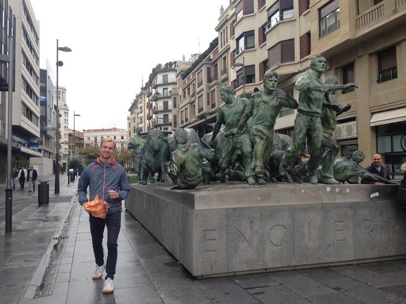 Bonus pic: Sam happily running for his life from the bulls of Pamplona!