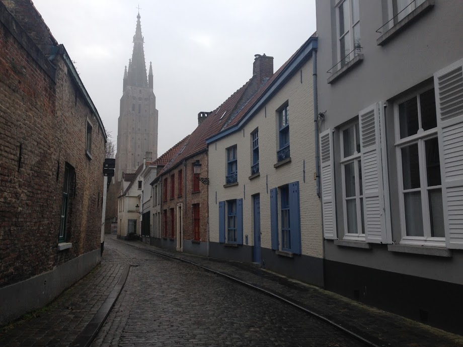 Our first impression of Bruges. Misty, moody and magical.