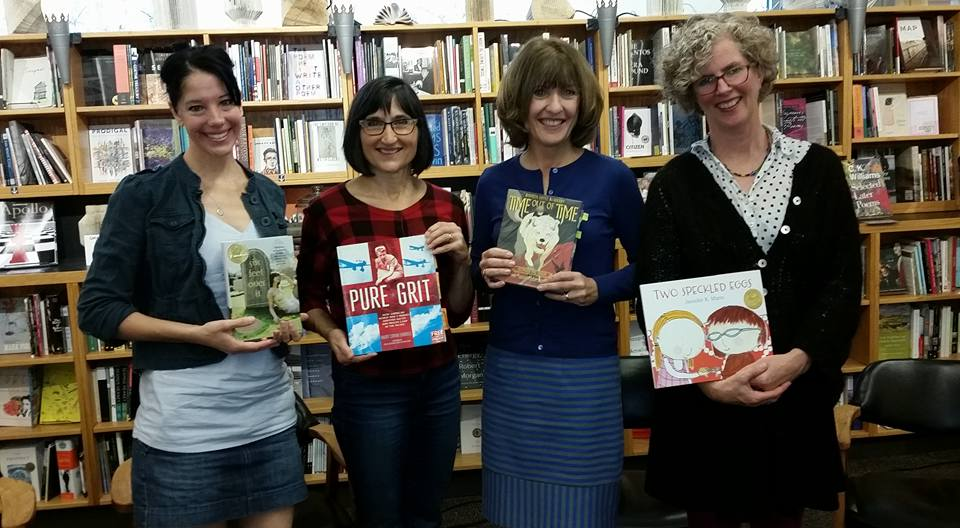With Washington State Book Award Finalists Mary Cronk Farrel, Maureen McQuerry and Winner, Jennifer K. Mann at University Books, Seattle.