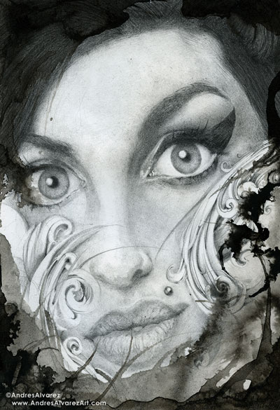 """""""Amy""""  - (7x10in) Graphite and ink on paper. (SOLD) Prints are now available  here."""