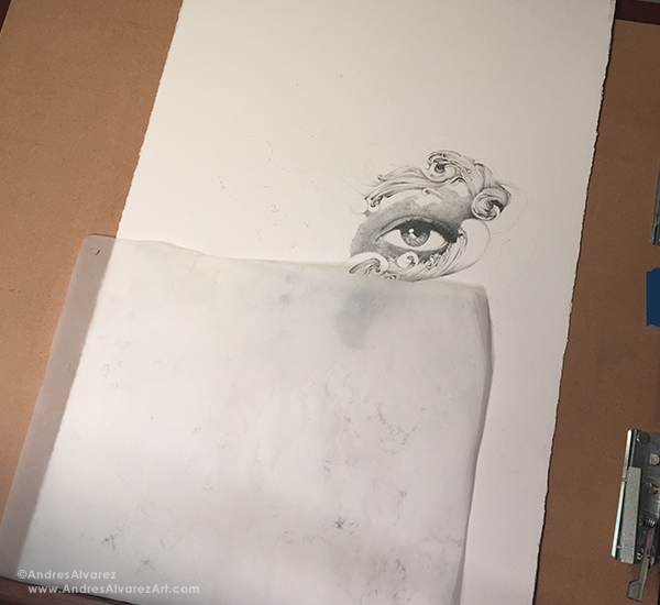 And now to make nothing look like something. This is a 15x23 sheet of Arches 300lb hot pressed watercolor paper. What that all translates to is a smooth surface that is suitable for pencil renderings and at the same time sturdy enough to handle a good a mount of wet media without falling apart or buckling.