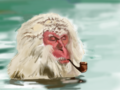 "( Birthday Monkey  | Pondocus) ""It was my buddy's birthday a couple days ago, so I figured I would do a speedy sketching of him as one o' them Japanese hot spring monkeys, smokin a pipe and relaxing, waiting for the spring thaw."""