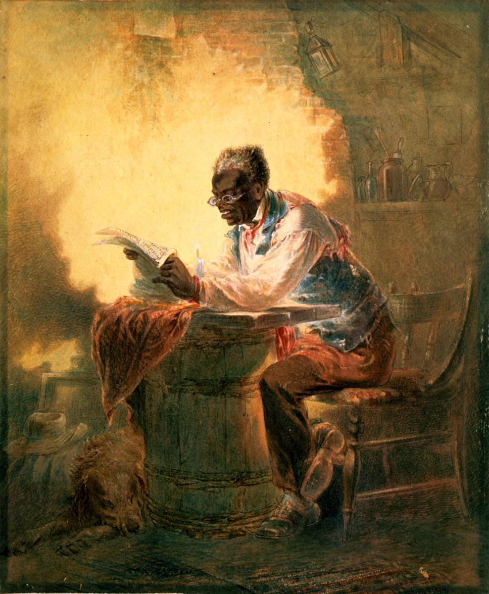 "(Untitled watercolor (c. 1863) of a black man reading a newspaper with headline ""Presidential Proclamation/Slavery"" 