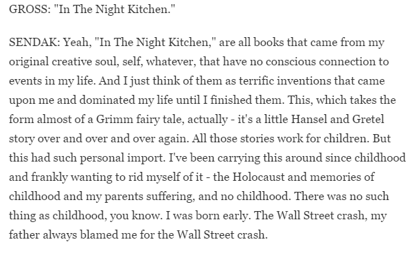 A SCREENSHOT FROM THE TERRY GROSS INTERVIEW. SENDAK'S CHILDHOOD TRAUMA WAS A RECURRING THEME IN THEIR INTERVIEWS.