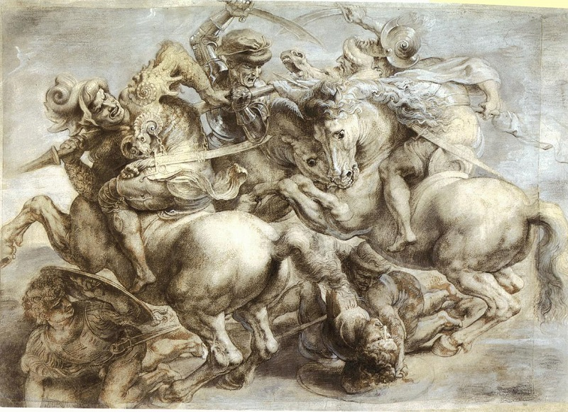 "(Peter Paul Rubens's copy of Leonardo da Vinci's lost painting, ""The Battle of Anghiari."" Leonardo da Vinci was commissioned by philosopher and writer Niccolò Machiavelli.)"