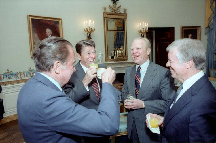 Four presidents (Reagan, Carter, Ford, Nixon) toasting in the White House Blue Room prior to leaving for Egypt and President Anwar Sadat's funeral