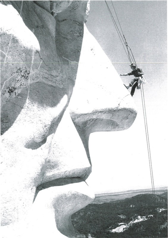 ( Herb Conn dangled from the faces on Mount Rushmore each fall to do maintenance work  | U.S. Dept. of Interior)