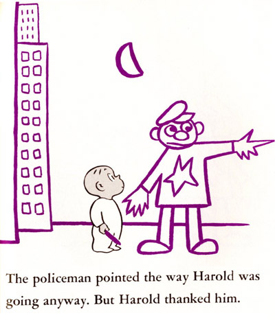 The distorted policeman from   Harold and the Purple Crayon