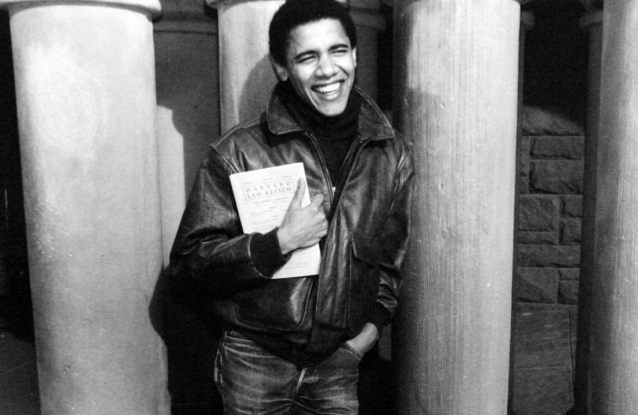 A young Barack Obama at Harvard Law School
