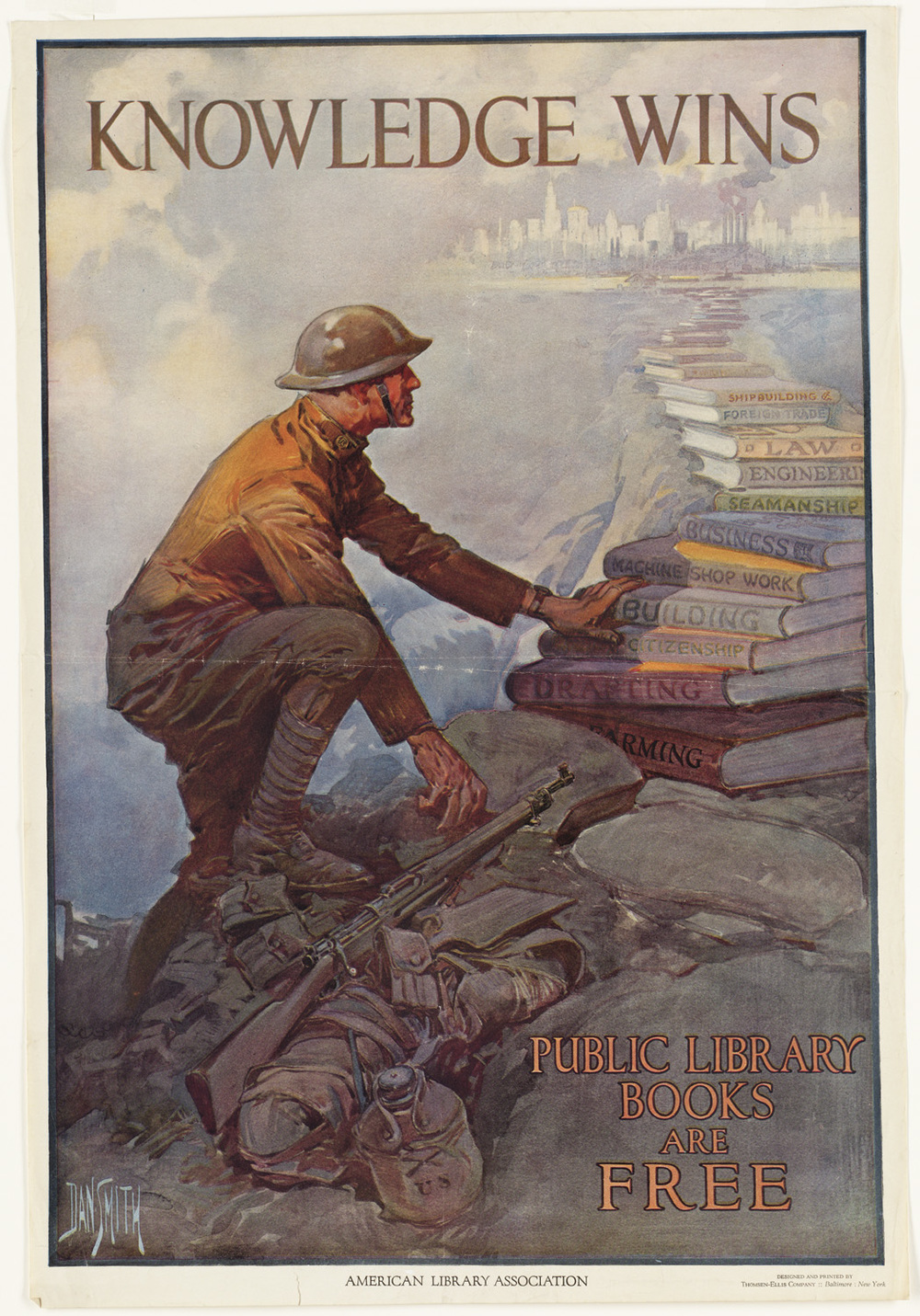 "(""Knowledge Wins. Public Library Books are Free,"" c. 1918 