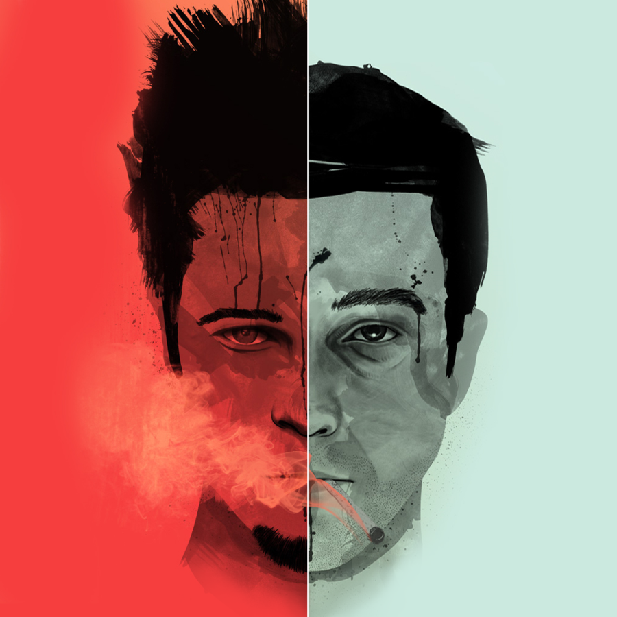 Composite of the two characters in   Fight Club