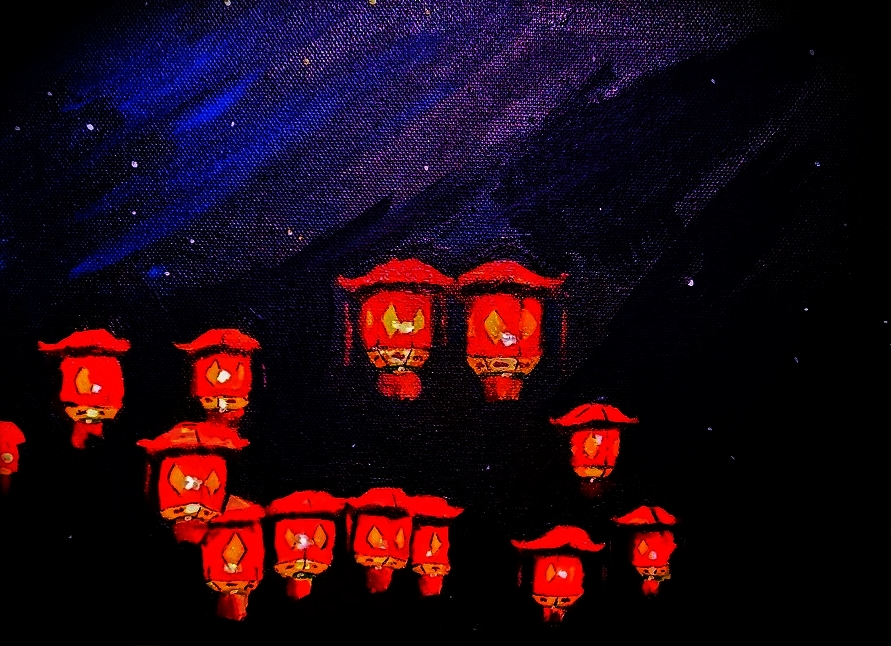 "( Lantern Festival  | Pondocus) ""Painted up some lanterns I saw hanging in a tree at the lantern festival to celebrate the year of the tiger."""