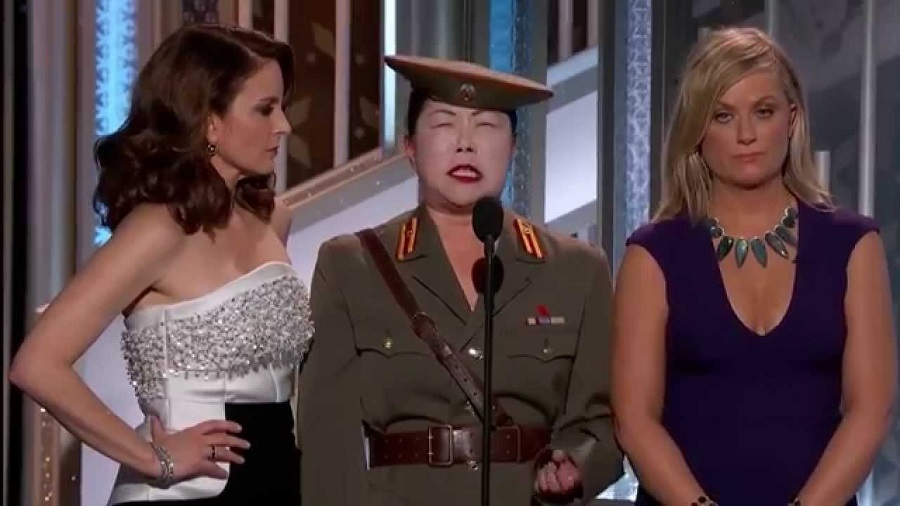 Margaret Cho, surrounded by non-Koreans, making fun of Koreans.