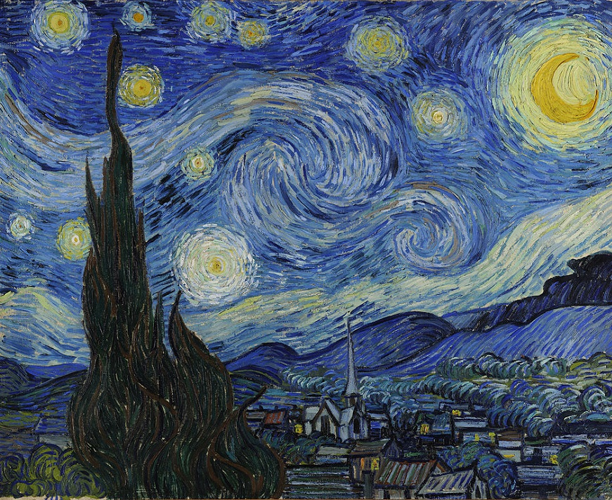 (The Starry Night | Vincent van Gogh, 1889. This was Vincent van Gogh's view from his hospital room.)