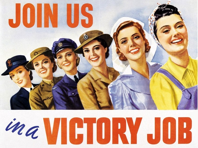 During WWII, this was what typical job advertising looked like for women; then we went backwards for several decades.