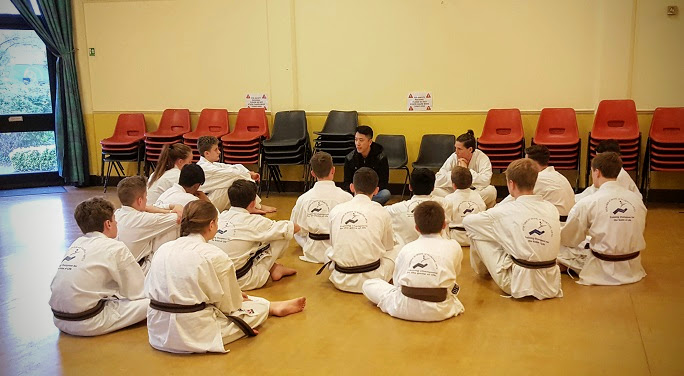 Speaking to karate youths in Oxford, England