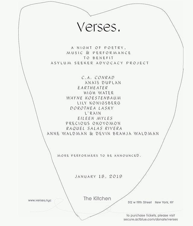 sooooo excited to announce @verses.nyc a night of poetry and music to benefit the Asylum Seeker Advocacy Project // an organization providing legal aid and support to families seeking refuge in the US // thanks to The Kitchen for giving us a home // 💙 my collaborators @elcal @gussierocs // tix link in bio — new york, ny