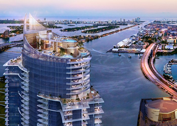 The developer of  Paramount at Miami Worldcenter  traveled to the world's most glamorous cities to search for inspiration for this tower. The Tower is now designed like an Italian Yacht. Also the last 4 floors of Paramount will feature a Club Lounge with pools, jacuzzi's, yoga studios and terraces.