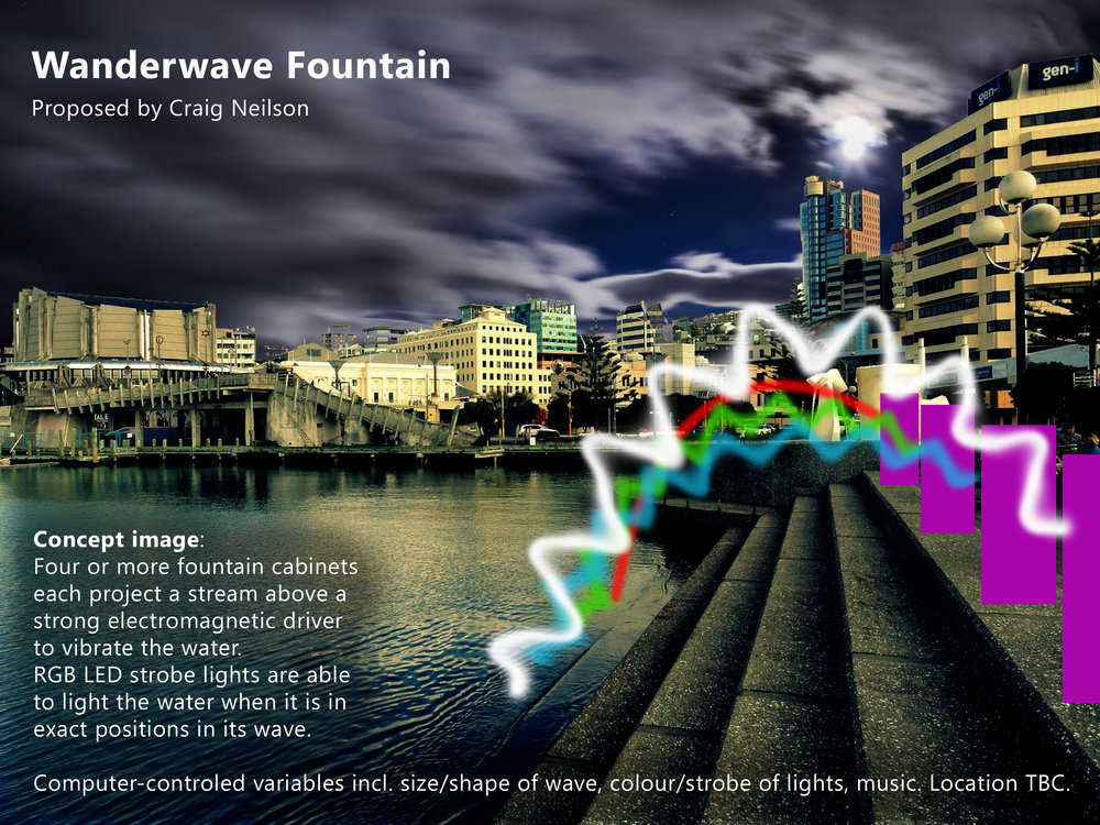 The fountain is capable of shaking its water-streams at ultra high speed and accuracy, then animating hidden patterns in each stream.  Shown here in downtown Wellington, the Wanderwave could be set up anywhere with a water source and 10 amp power.