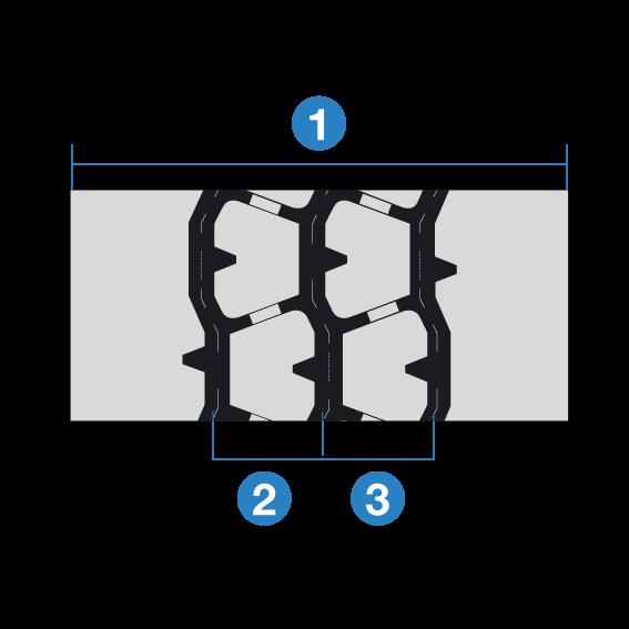 1. Extra tiefe und breite Profilausführung 2. Halbrunde Schultern 3. Traktionsprofil mit Mehrfachlamellen