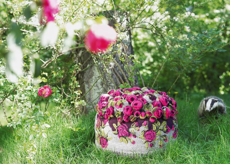 Pompon pouf roses