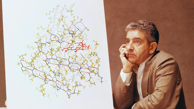 """Irving Geis and his work-in-progress 1961 myoglobin painting"" from the Irving Geis Collection. Rights owned and administered by the Howard Hughes Medical Institute. Reproduction by permission only."