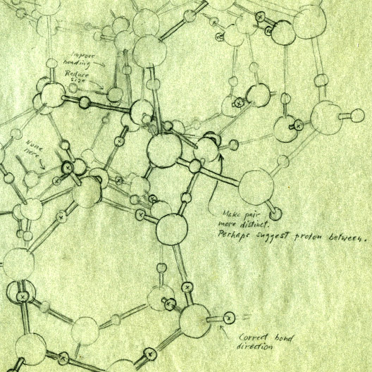 Roger Hayward's draft image on the crystal structure of Ice II. Image source: Special Collections & Archives Research Center, Oregon State University Libraries.