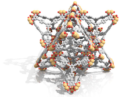 Nu-100, a new metal-organic framework material. Image created by Christopher Wilmer.