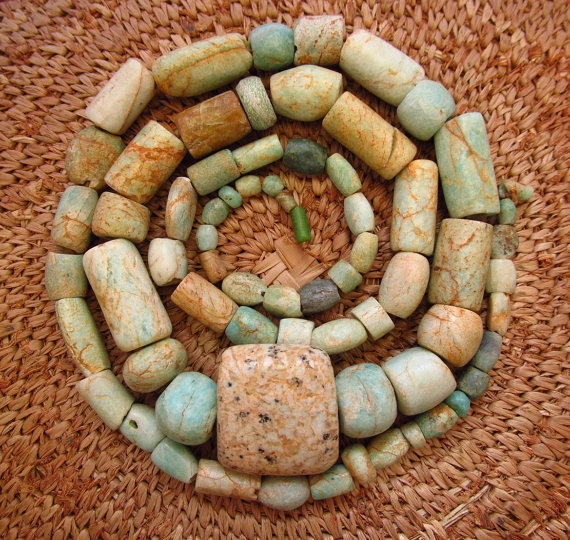 These gorgeous amazonite beads vary in shade from earthy tones to duck egg blue -for sale on this etsy site;  lostcitiesbeads