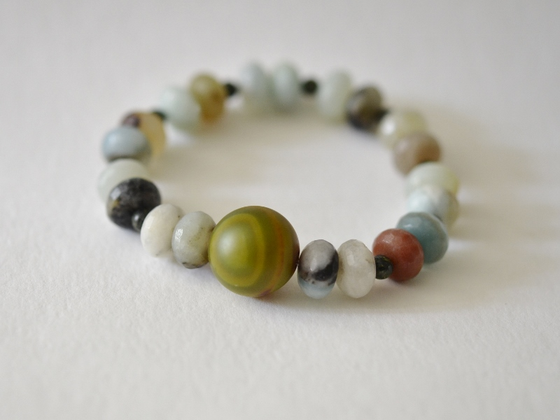 My own Amazonite bracelet with faceted beads and a mossy agate bead in the centre £38 in my  etsy shop