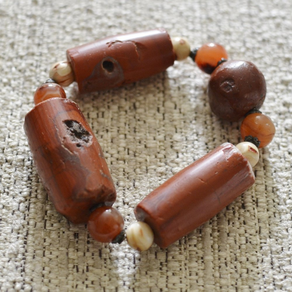 African Carved Red Jasper Bracelet