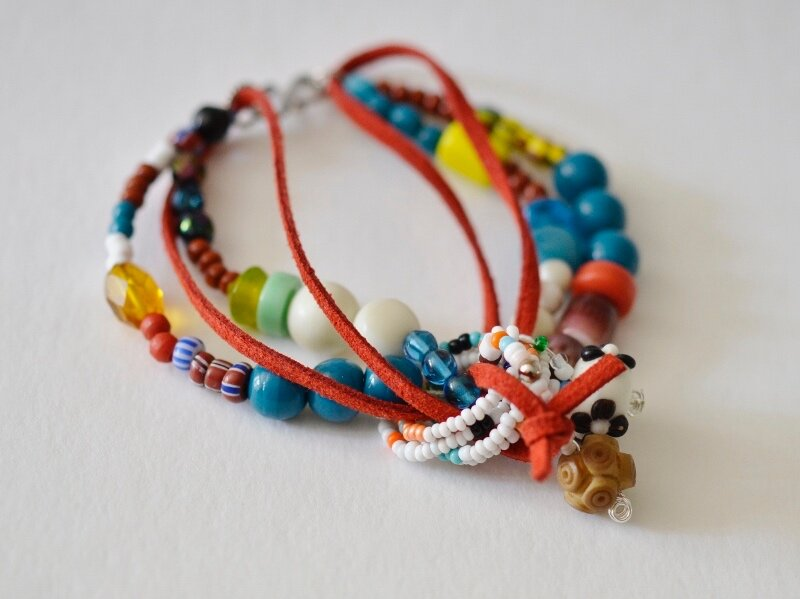 Multiple Strand Bead and Suede Bracelet