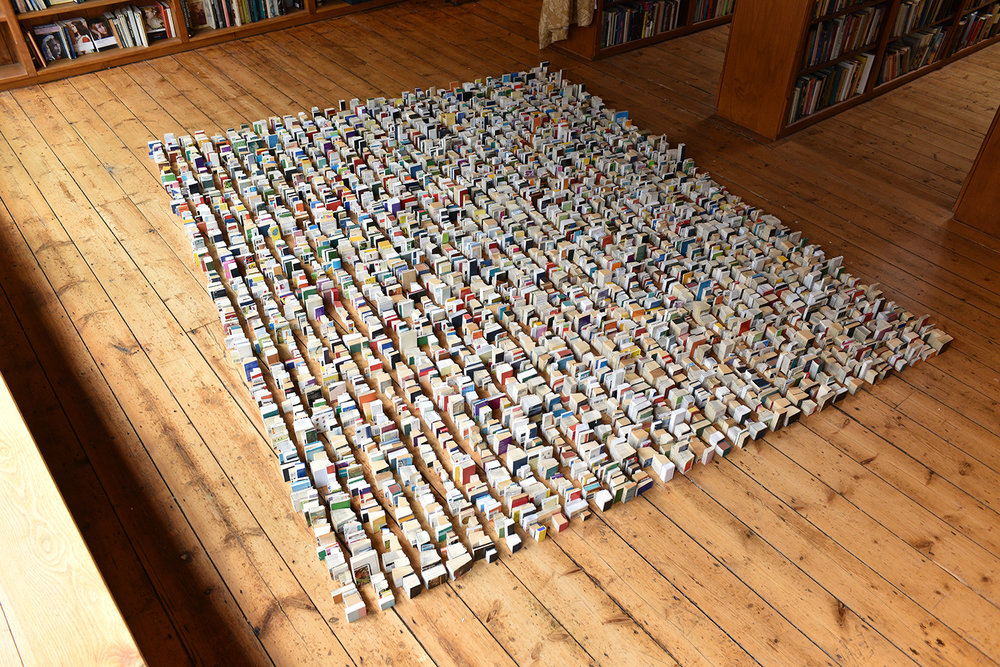 2016 'Idiot Compression'. rearranged. Paper. 300cm by 243cm Richard Booth's Bookshop 2016 15w detail..jpg