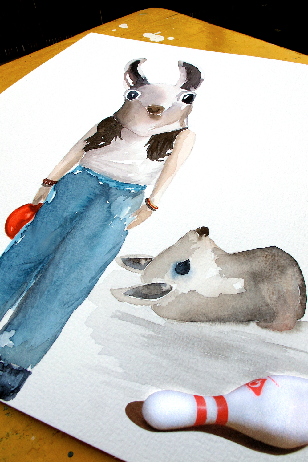 Dear deer, let's have a ball...  Aquarel by Darja ©kokonoma