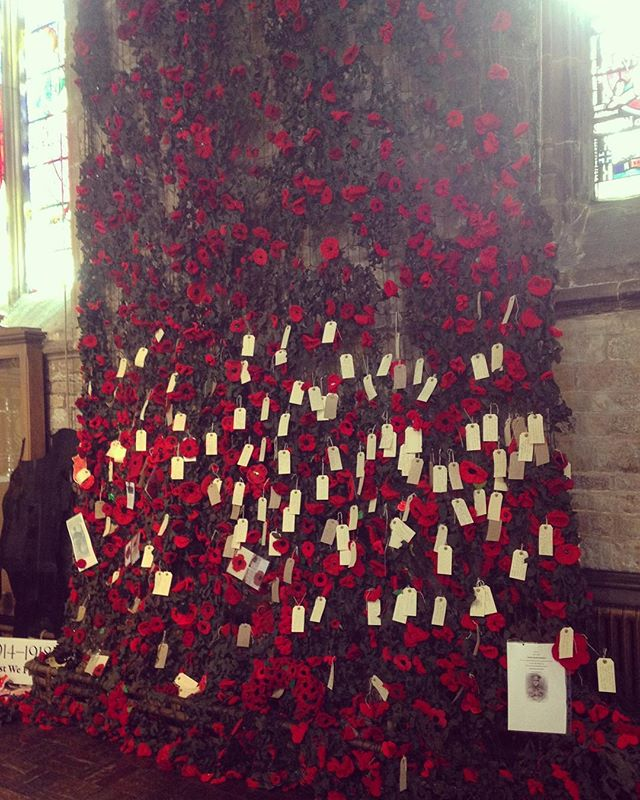 Saw this in a church at the weekend. A lovely act of remembrance, a camouflage net covered with knitted poppies and tags written of lost soldiers, veterans and loved ones. A great idea and quite something to see so much love and support for the people who dedicate/have dedicated their lives for their country. 💚❤️💚❤️💚❤️💚
