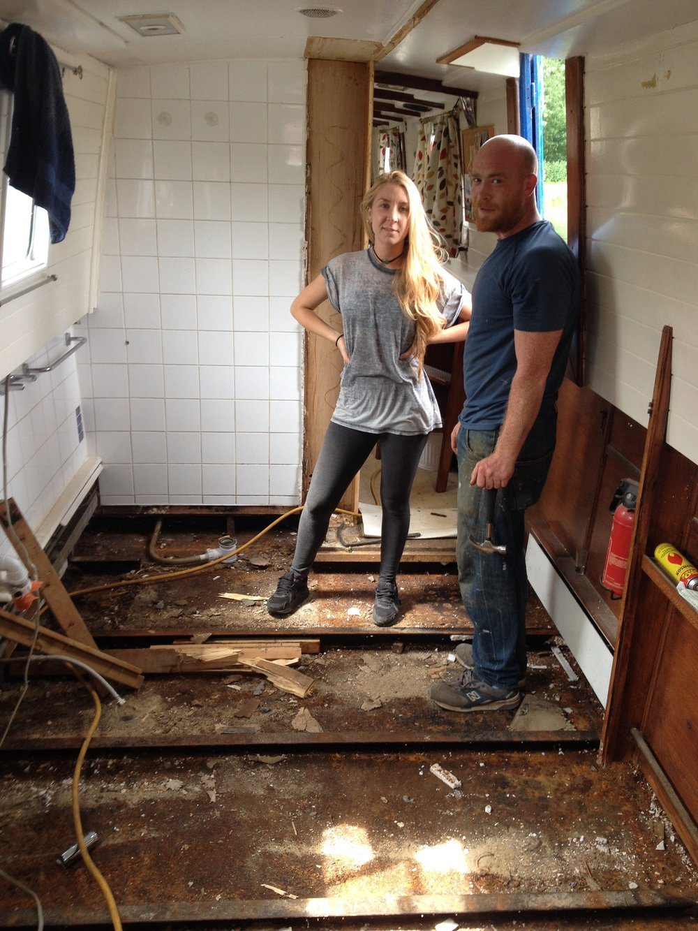 Taking up the floors to de-rust and treat