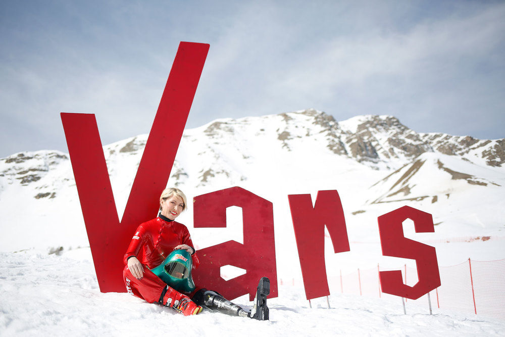 Heather sits under the Vars sign in France