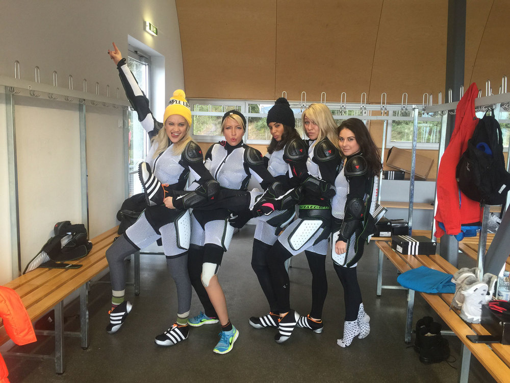 Heather and some of the other female contestants from The Jump 2015