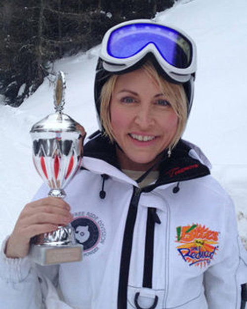 Alpine Ski Racer Heather Mills taking the trophy having won Gold at the 2012 Austria Cup.